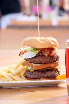 Huge Size Double Cheeseburger Stock Images