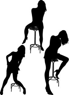 Free Woman On Bar Chair Royalty Free Stock Photos - 16828328
