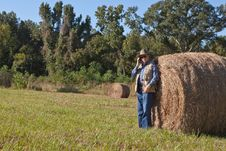 Free Mature Man And Hay Stack Stock Images - 16828864