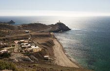 Lighthouse And Coastline Near Cabo De Gata Stock Photo