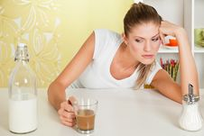 Free Beauty, Sorrowful Girl With A Cup Of Coffee Stock Photo - 16829250