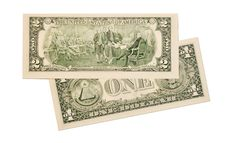 Free Dollar Notes On White Background Royalty Free Stock Photos - 16831698