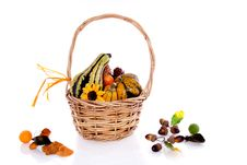 Squashes And Pine Cones Royalty Free Stock Photo