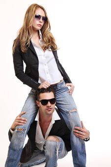 Free Young Fashion Couple Posing In Studio Royalty Free Stock Photos - 16831818