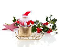 Santa Claus In His Golden Sled Stock Photo