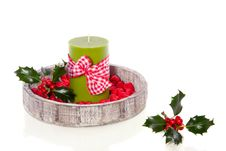 Free Green Candle Decorated With Stones Royalty Free Stock Photography - 16831937