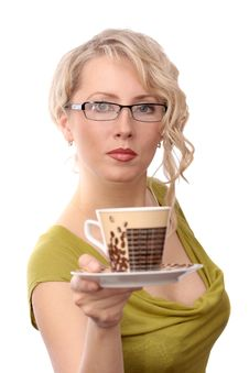 Free The Beautiful Blonde Gives Coffee Stock Image - 16832121