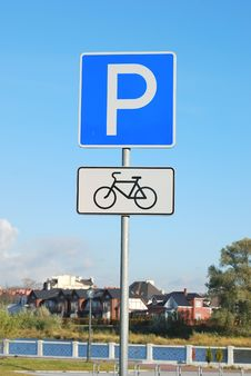 Free Bicycle Parking Sign Royalty Free Stock Photos - 16832378