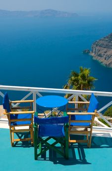 Free Blue Chairs And Table In Santorini Stock Photo - 16832560