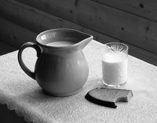 Milk And Bread (Black And White) Royalty Free Stock Image