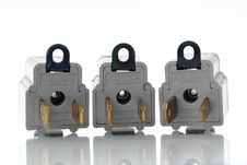 Free Three Gray Electrical Outlet Plugin Converters Royalty Free Stock Photography - 16834477