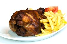 Free Roast Chicken, Isolated On White, With Brown Crust Royalty Free Stock Photography - 16834567