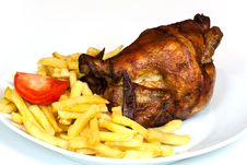 Free Roast Chicken, Isolated On White, With Brown Crust Stock Photos - 16834593