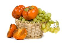 Free Ripe Persimmons And Grapes Royalty Free Stock Photography - 16836247