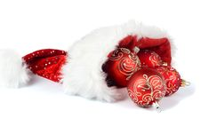 Santa Claus Hat With Christmas Ornaments Royalty Free Stock Photo