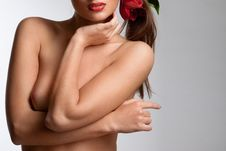 Nude Girl With Flowers In Her Hair Royalty Free Stock Photos