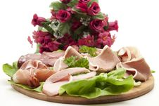 Free Sausage Plate And Bunch Of Flowers Stock Photos - 16836933
