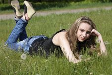 Free Young Women Lying On Green Grass Stock Photos - 16837093