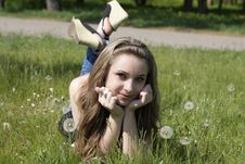 Free Young Women Lying On Green Grass Stock Images - 16837094