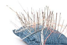 Free Pincushion With Lot Of Needles Stock Photos - 16837153