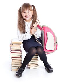Free A Girl Is Sitting On The Books Stock Images - 16837184