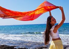 Free A Woman With The Pareo Is On A Coast Stock Photography - 16837192