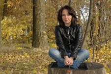 Girl Sitting Cross-legged Stock Photography