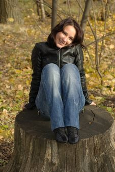 Free Female On A Stump Royalty Free Stock Photo - 16837805