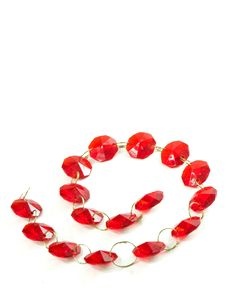 Free Red Gems In A Chain Isolated Stock Photos - 16838123