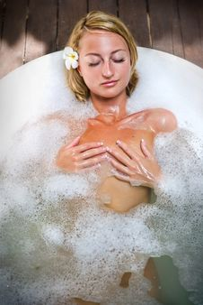 Relaxing In Bath Stock Images