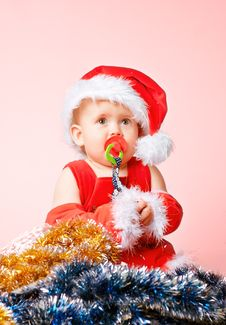 Free Baby In Santa Claus Hat Royalty Free Stock Photos - 16839198