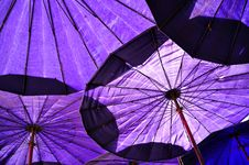 Under Blue Umbrella Stock Photos
