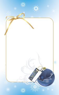 Free Blue Ball With Golden Bow In The Decorative Frame Stock Photography - 16840952