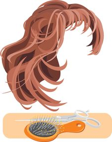 Hair, Scissors And Hairbrush Isolated On The White Stock Photography