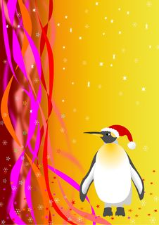 Free Santa Penguin. Vector File Royalty Free Stock Images - 16841229