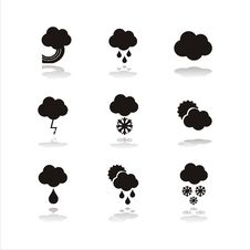 Free Set Of 9  Weather Icons Royalty Free Stock Image - 16841296