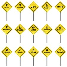 Set Of Traffic Signs. Royalty Free Stock Images