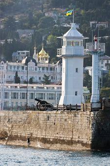 Coastal Beacon With An Artillery Cannon Stock Image