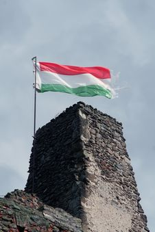 Hungarian Flag On The Ruin Of A Castle Stock Image