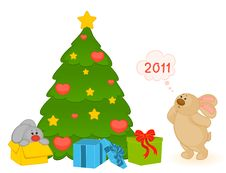 Little Toy Bunny With Fir-tree Stock Images