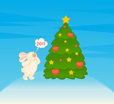 Little Toy Bunny With Fir-tree Stock Photo