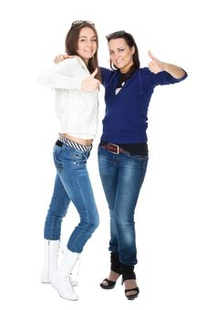 Free Two Girls Friends In Jeans Royalty Free Stock Image - 16845946