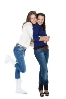 Free Two Girls Friends In Jeans Royalty Free Stock Photography - 16845957
