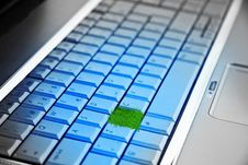 Computer Keyboard With A Button Royalty Free Stock Photo