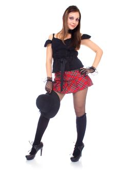 Gothic Girl In Mini Skirt With Hat Stock Images