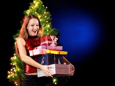 Free Christmas Woman Royalty Free Stock Photo - 16846425