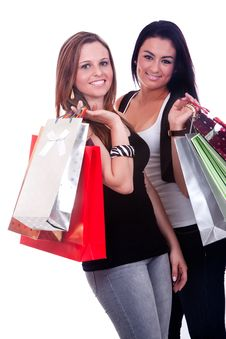 Free Happy Girls Shopping Royalty Free Stock Photo - 16847415