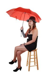 Free Lady With Hat And Umbrella. Stock Photos - 16847443