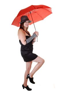 Free Lady With Hat And Umbrella. Royalty Free Stock Images - 16847449