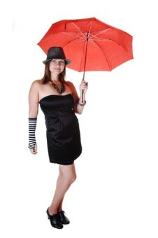 Free Lady With Hat And Umbrella. Stock Images - 16847454